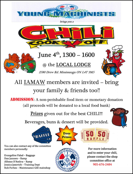 Chili Cook Off -June 4th 1300-1600 @ 2323 Administration Office | Mississauga | Ontario | Canada
