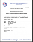 Change Of Date Of February's General Membership Meeting -Notice to All Local 2323 Members