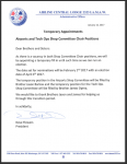 Temporary Appointments -Airports and Tech Ops Shop Committee Chair Positions
